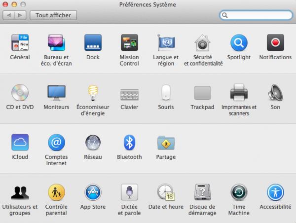 Mac Préférences systeme image