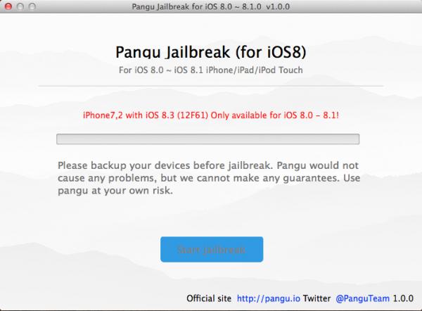 Pangu iOS 8.3 non compatible