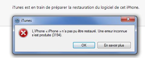 comment reparer erreur 1002 iphone