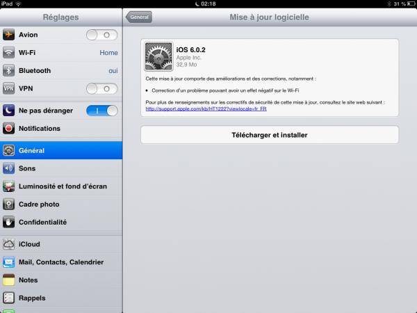 iPad MAJ OTA image