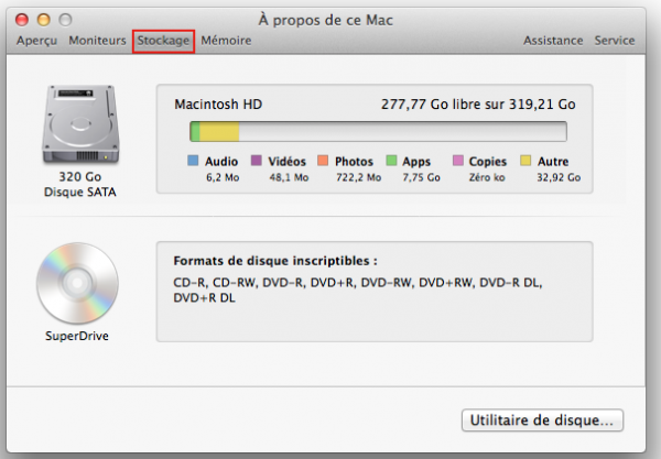 Mac propos Mac stockage