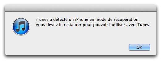 Mode Recuperation iTunes