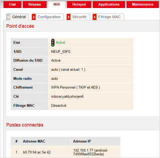 SFR Box wifi settings 1
