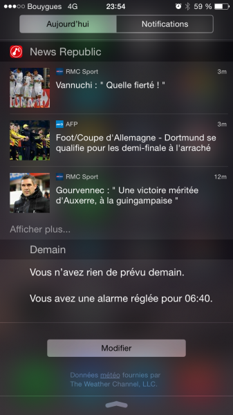 Widgets iOS 8 center
