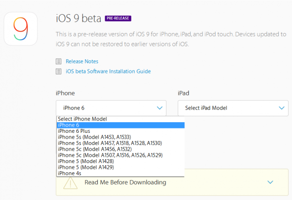 choix download ios 9